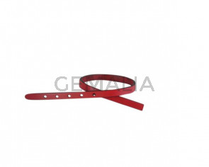 Leather cord strand for buckle clasp 230x6mm. Red-black edges. Best Quality