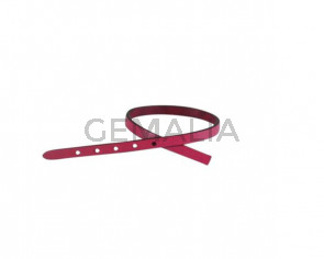 Leather cord strand for buckle clasp 230x6mm. Fuchsia-black edges. Best Quality