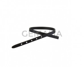 Leather cord strand for buckle clasp 230x6mm. Black-black edges. Best Quality
