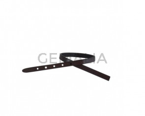 Leather cord strand for buckle clasp 230x6mm. Dark brown-black edges. Best Quality