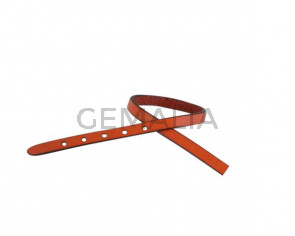 Leather cord strand for buckle clasp 230x6mm. Orange-black edges. Best Quality