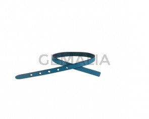 Leather cord strand for buckle clasp 230x6mm. Blue turquoise-black edges. Best Quality