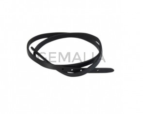 Leather cord strand for buckle clasp 590x6mm. Black-black edges. Best Quality