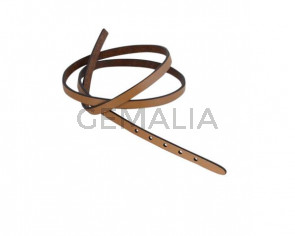 Leather cord strand for buckle clasp 590x6mm. Light Brown-black edges. Best Quality