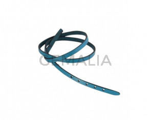 Leather cord strand for buckle clasp 590x6mm. Blue turquoise-black edges. Best Quality
