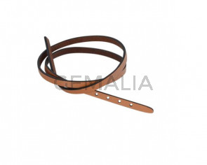 Leather cord strand for buckle clasp 590x6mm. Camel-black edges. Best Quality