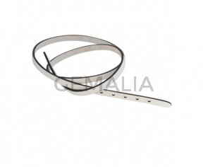Leather cord strand for buckle clasp 590x6mm. White-black edges. Best Quality