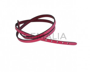 Leather cord strand for buckle clasp 590x6mm. Fuchsia-black edges. Best Quality
