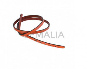 Leather cord strand for buckle clasp 590x6mm. Orange-black edges. Best Quality