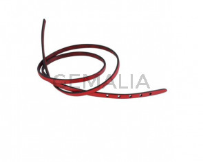 Leather cord strand for buckle clasp 590x5mm. Red-black edges. Best Quality
