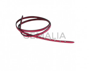 Leather cord strand for buckle clasp 590x5mm. Fuchsia-black edges. Best Quality