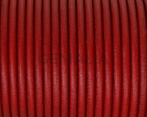 Rounud Leather cord 3mm. Red. Best Quality