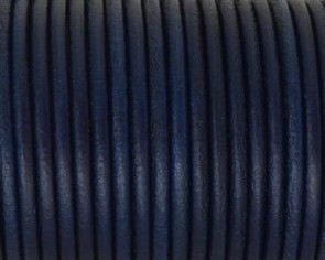 Rounud Leather cord 3mm. Navy Blue. Best Quality