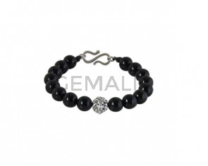 BRACELET Silver plated lion and black agate
