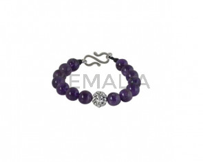 BRACELET Silver plated lion and Amethyst