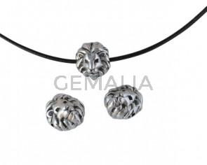 Lion´s Head bead Zamak 10x9.5mm. Silver. Inn.1.2mm