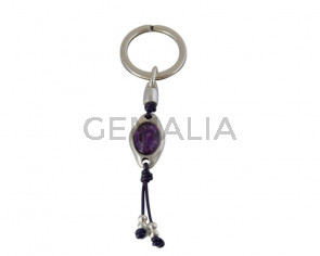 KEY RING leather cord-zamak-resin