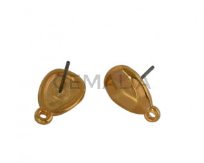 Zamak earring accesorie 14x9mm. Gold. Inn.1.2mm