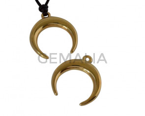 Metal pendant Zamak moon 23mm. Gold. Inn.2mm