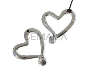 Metal pendant Zamak heart 66x57mm. Silver. Inn.3mm
