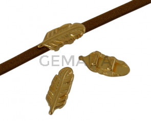 Metal bead Zamak slider feather 15.2x5.8mm. Gold. Inn.3x2mm