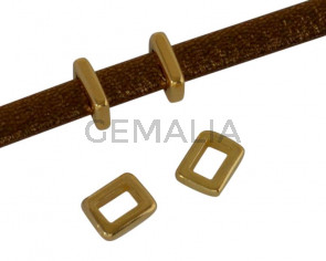 Metal bead Zamak slider parallel 5.3x4.2mm. Gold. Inn.3x2mm