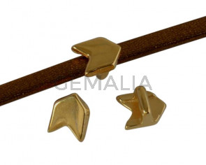 Metal slider Zamak arrow 7.3x5.7mm. Gold. Inn.3x2mm