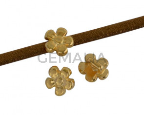 Metal bead Brass slider flower 8x8mm. Gold. Inn.3x2mm