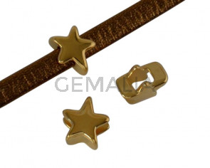 Metal bead Brass slider star 7x7mm. Gold. Inn.3x2mm