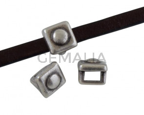 Square Zamak Slider 6x6mm. Silver. Inn.3x2mm