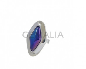 Murano glass and metal Ring Zamak 42x25mm. Silver-Blue. Adjustable.