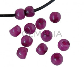 Round Resin 7x7x5mm. Opaque Plum. Inn.3mm aprox. Best Quality.