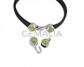 SWAROVSKI clasp with end cap. 2 pieces set 6x15mm-6x11mm. Silver-Lime. Inn.5x2mm