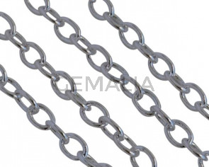 Brass oval chain 3,5x2,5mm. Shiny Silver.