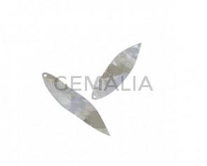 Leaf pendant Brass 62x14mm. Shiny Silver. Inn.1.5mm. Top Quality