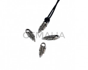 Feather pendant Zamak 13x5mm. Silver. Int.2mm