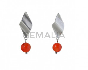 EARRINGS Silver plated and coral
