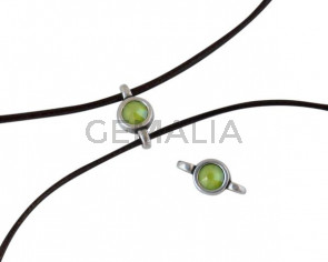 Swarovski and metal connector 10x5mm. Silver-Lime.Inn.2m