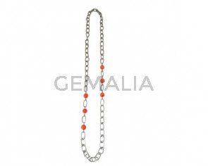 NECKLACE Silver plated chain and coral