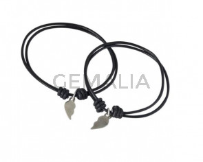 BRACELET Silver plated heart and leather cord