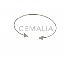 Brass Bracelet with Cubic Zircon Arrow 65x56mm. Silver. Adjustable