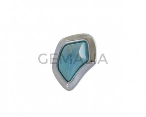 Murano glass and metal Ring Zamak 43x34mm. Silver-Blue Turquoise. Adjustable.