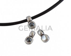 SWAROVSKI and metal pendant. 13x7mm. Silver-Jet Hematite Pearl. Inn.3mm