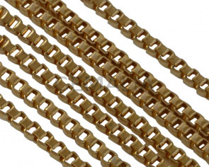 Stainless Steel Square Chain 1.5mm. Stainless Steel 304. Gold