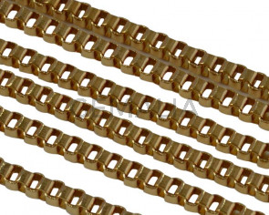 Stainless Steel Square Chain 2mm. Stainless Steel 304. Gold