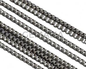 Stainless Steel Square Chain 1.1mm. Stainless Steel 304. Silver