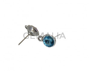 SWAROVSKI and Zamak earring with ring. Round 11mm. Silver-Aquamarine. Int.2mm