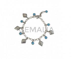 BRACELET Chain and Swarovski pendants silver plated