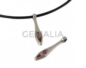 SWAROVSKI and metal pendant 33x6mm. Silver-Antique Pink. Int.2mm