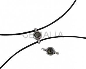 Swarovski and metal connector 10x5mm. Silver-Black Diamond.Inn.2m